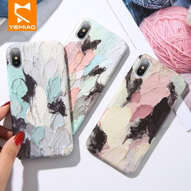 3D Alívio Caso de Telefone Para o iphone XS Max 7 Plus X Caso De Luxo Colorido Rígido PC Tampa Traseira Para o iphone 6 S 8 6 Plus 10 XR Caso Chique