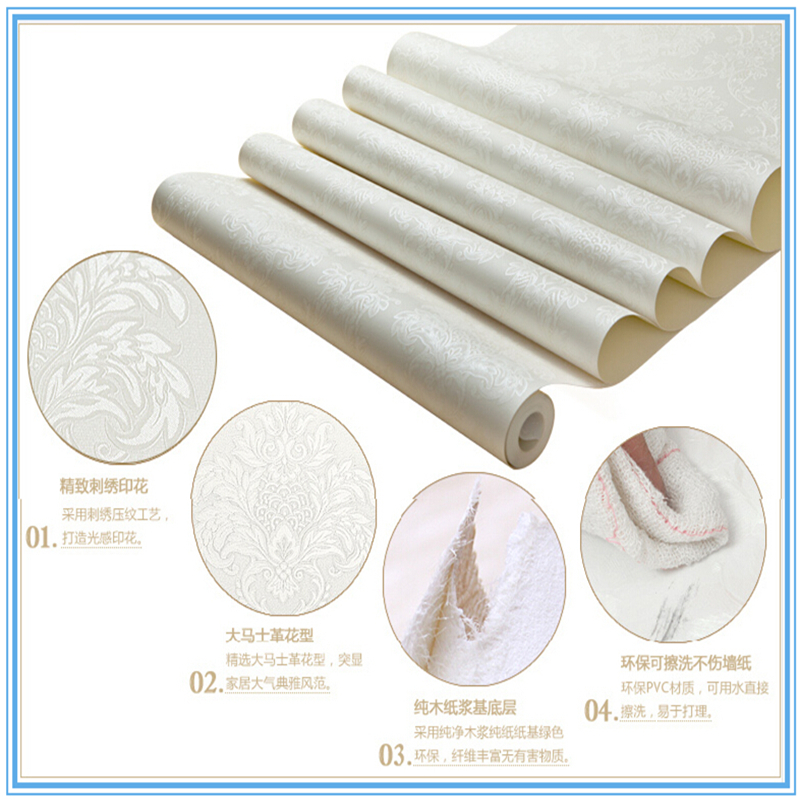Luxury Ivory White Color Bedroom Background Damascus European Style Embossing Pvc Wallpaper Wall Paper Roll