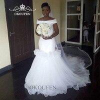 2019 Off Shoulder Wedding Dress For Women Puffy Mermaid White Long Chapel Train Vestido De Noiva Bridal Dresses Gown