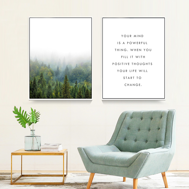 Pine Forest Landscape Inspiring Quote Canvas Paintings Nordic Posters Prints Wall Art Pictures For Office Living Room Home Decor image