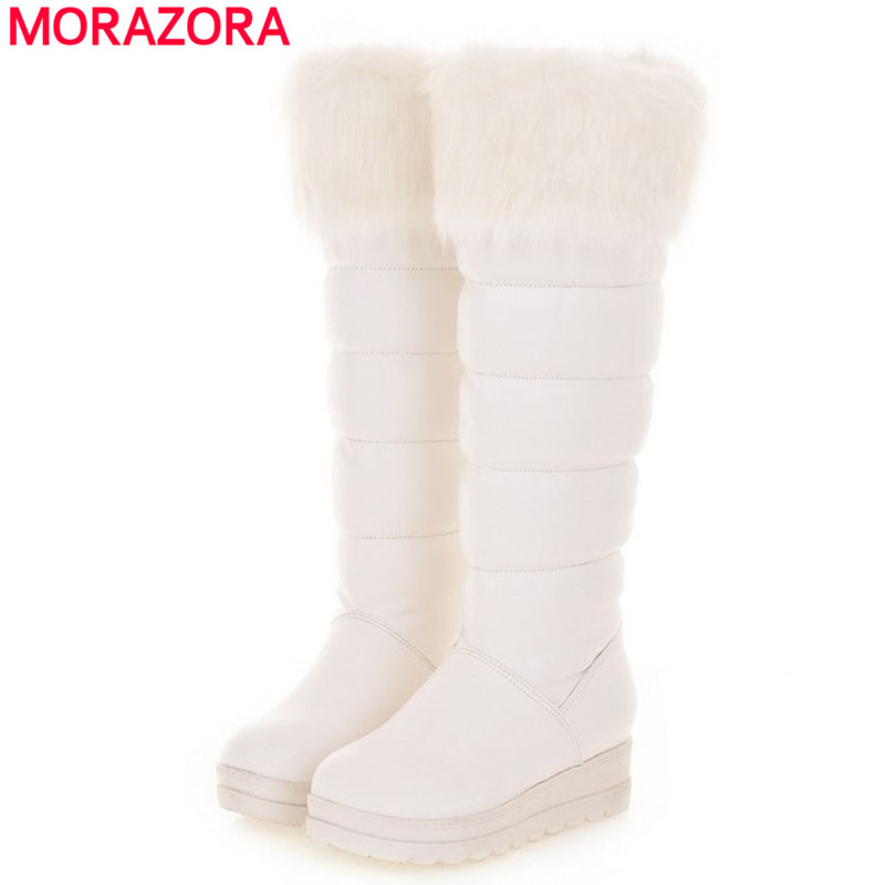 Plus size thick fur snow boots keep warm platform flat knee high women black white winter drop shipping - MORAZORA store