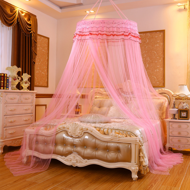 {Byetee} Princess Round Bed Nets Single Door Mosquito Nets Square Top Bedding Net with Ring and Hooks Frame Curtain