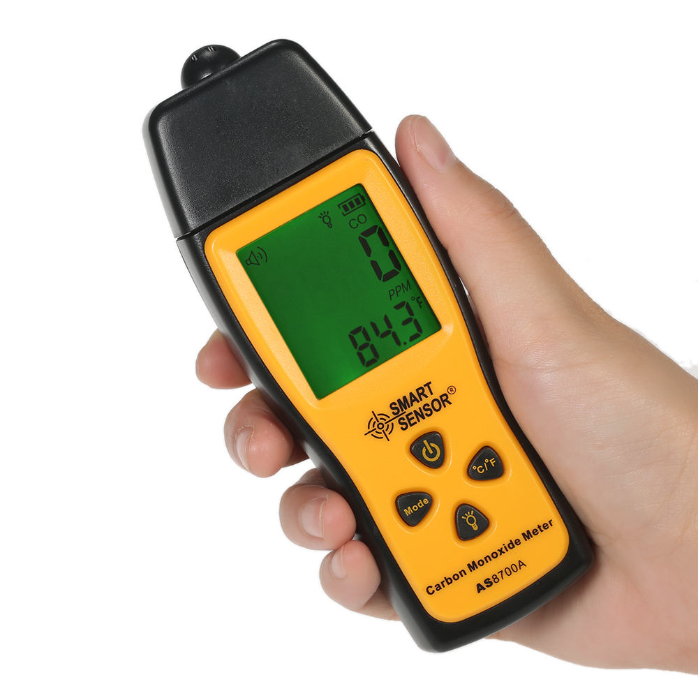 Handheld Carbon Monoxide Meter High Precision CO Gas Analyzer Tester Monitor Detector LCD Display Sound + Light Alarm 0-1000ppm hp9800 pc usb port 4500w 85v 110v 220v 265v ac 20a electric power energy monitor tester watt meter analyzer with socket output
