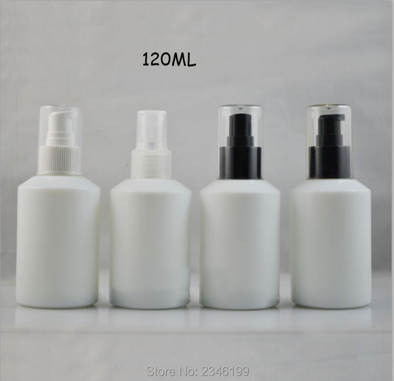 120ML 8pcs/lot White Glass Bottle with Lotion Pump, Empty Elegant Spray Bottle with Clear Nozzle, DIY Fashion Emulsion Package 100 pcs lot of small glass vials with cork tops 1 ml tiny bottles little empty jars