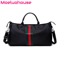 Moeluohouse Stripe Women Girl Luggage Messenger Crossbody Shoulder Duffle Travel Bag Handbag Tote Sport Large Capacity Oxford