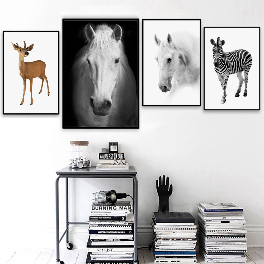Horse Zebra Fawn Deer Animal Nordic Posters and Prints Wall Art Canvas Painting Kids Room Wall Pictures For Living Room Decor
