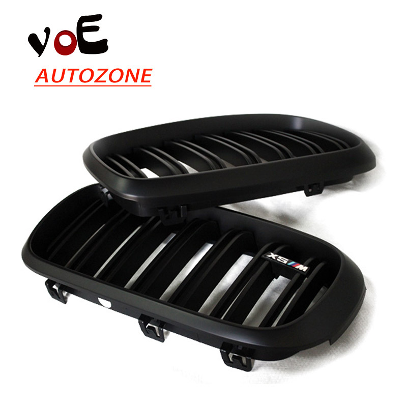 2014 2015 2016 F15 F16 Kidney Shape Matte Black ABS Plastic M-sport Look Front Racing Grill Grille for BMW F16 X6 BMW F15 X5 x5 x6 m performance sport design m color front grill dual slat kidney custom auto grille fit for bmw 2015 2016 f15 f16 suv