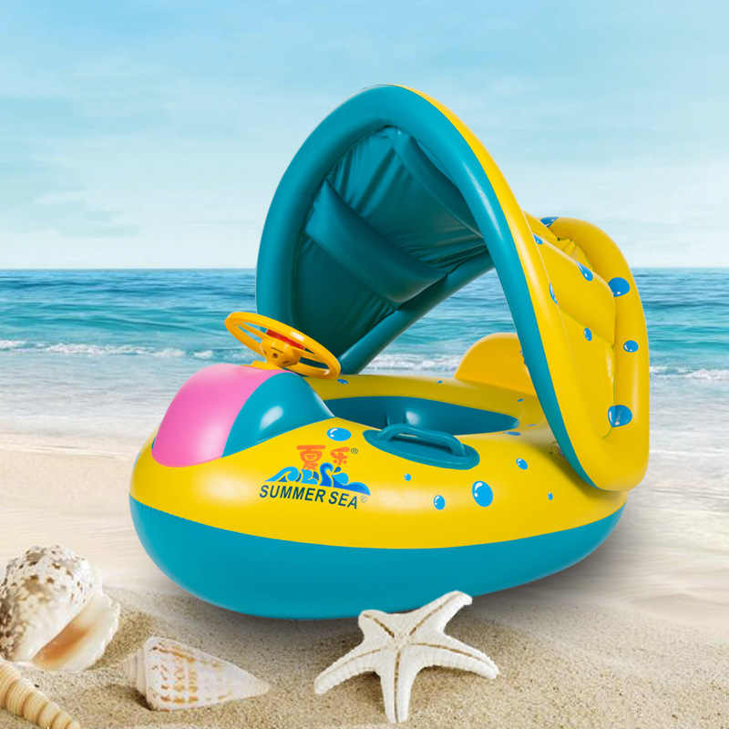 Kids Baby Swimming Rings Safe Inflatable Swim Pool Toy for Baby Boy Girl Adjustable Sunshade Children Toddler Seat Float Boat