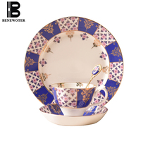 180ml New Royal Blue Gold Plated Ceramic Bone China Coffee Cup With Saucer Kit Water Milk