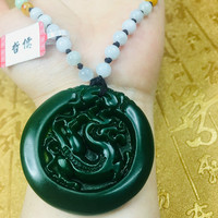 Send A level national certificate Natural Hetian Biyu carved green round dragon pendant Three color jade necklace
