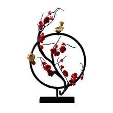 Ornements Zen chinois forme d'oiseau | Nouveau modèle de meuble d'ameublement créatif de maison, motif de fleur, de forme ronde, artisanat en fer R1590