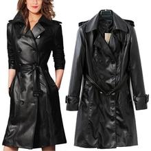 2016 New Spring Women Black Leather Jacket Slim Fashion Long Jackets Trench Coat KB616