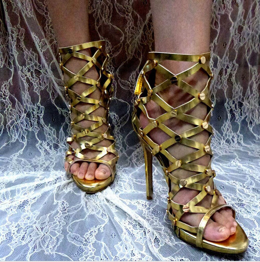 New Sandal Hot selling Dress Women Shoes Cheap Price Fashion Summer Sandal High Heel Cut Out Ankle Summer Luxury Sexy Rivets newest fashion women shoes sandals luxury noble dress shoes cheap price ankle summer party shoes hot selling silver gold metal