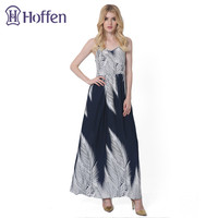 Hoffen Hot Sale Womens Summer Long Beach Dress V Neck Sleeveless Print Maxi Dress Print Boho