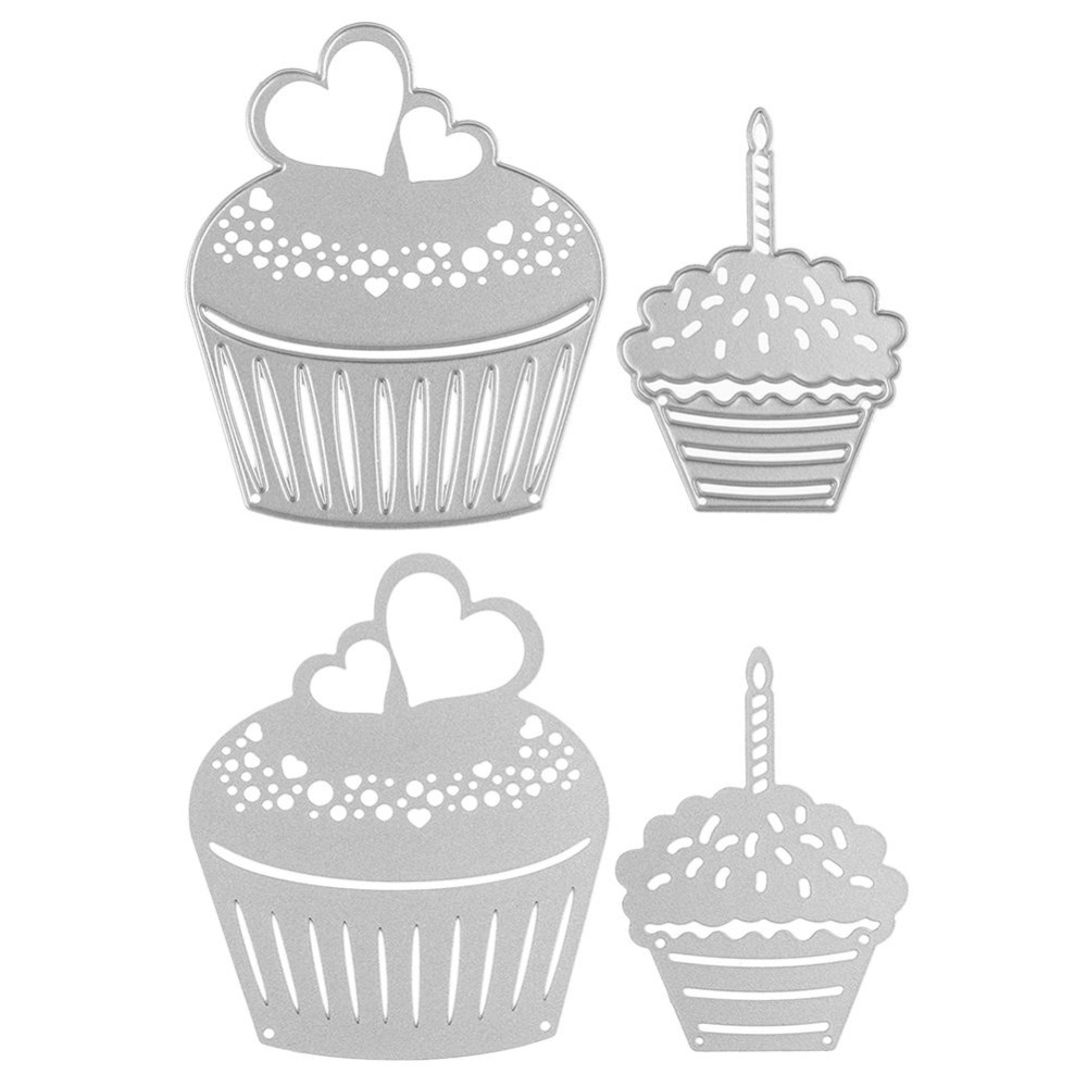 aliexpress com buy 2pcs birthday cupcake metal cutting dies