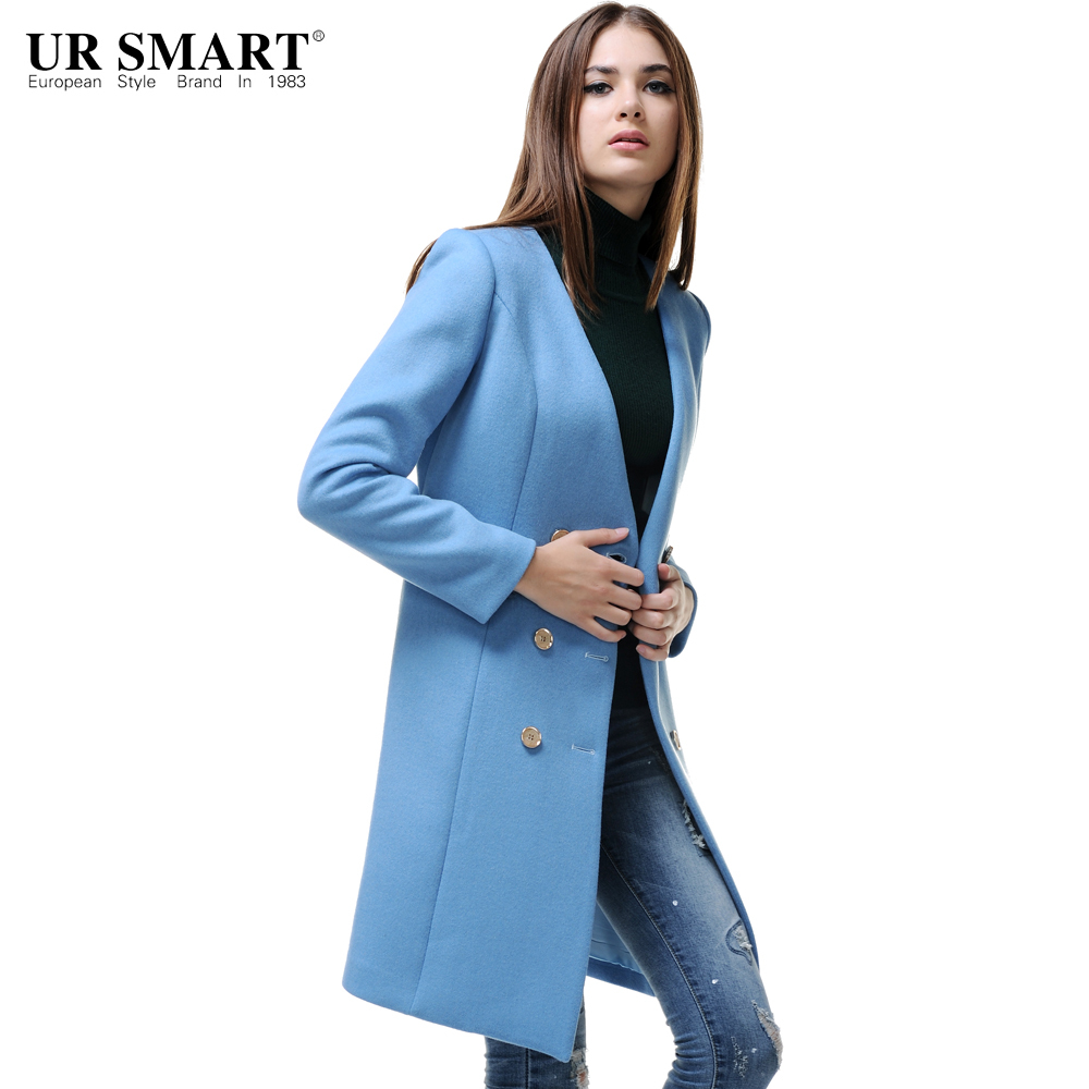 URSMSRT Art style double breasted women without collar female coat ...