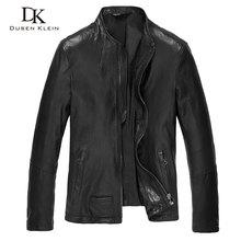 2016 New Dusen Klein Men Genuine Leather Jacket Autumn Outerwear red wine/Black/Slim Style Sheepskin leather Coat 16S1411