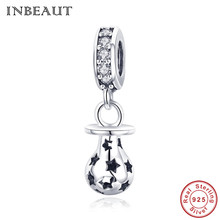 INBEAUT Women Necklace Pendant 925 Sterling Silver Cute Little Baby Pacifier Carved Black Star Charm Beads fit Trendy Bracelet