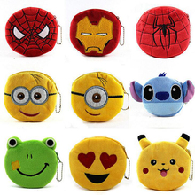 2016 Cute Cartoon Plush Coin Purse Children Zip Change Purse Wallet Spider Man Hello Kitty Minions Kids Girl Women For Gift