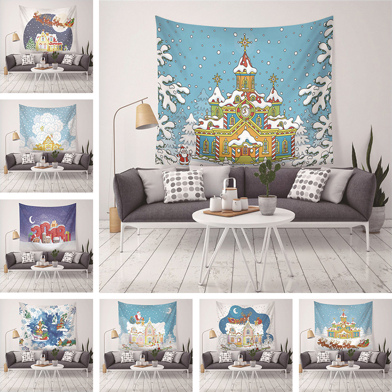 2018 New Christmas Tapestry Psychedelic Mandala Party Family Wall Blanket Home Decoration Blanket Table Cloth Yoga Mat 200 150 in Tapestry from Home Garden