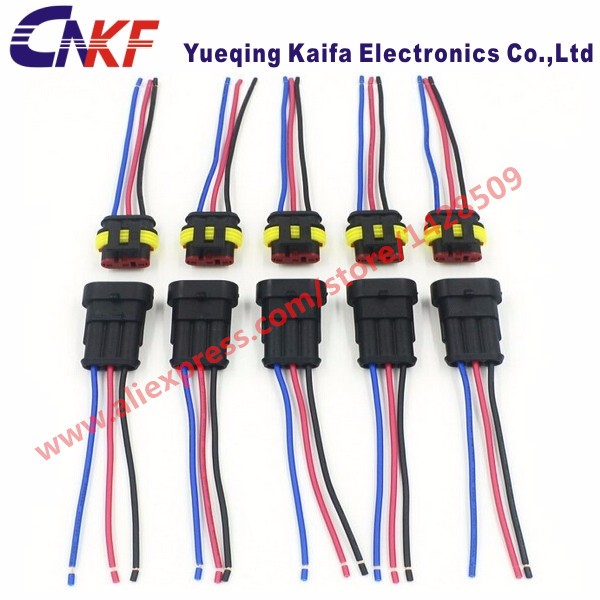 10 Sets Tyco Amp 3 Way Female Male Electrical Connectors Waterproof Auto Plug With Automobile Wire 10 sets tyco amp 3 way female male electrical connectors waterproof wire harness at edmiracle.co