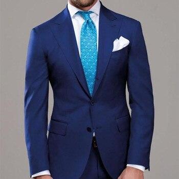 2017 Mens Suits Classic Style wedding suits for me Tuxedo costume homme Royal Blue Men Suit Two Piece Tuxedos (Jacket+Pants+tie)