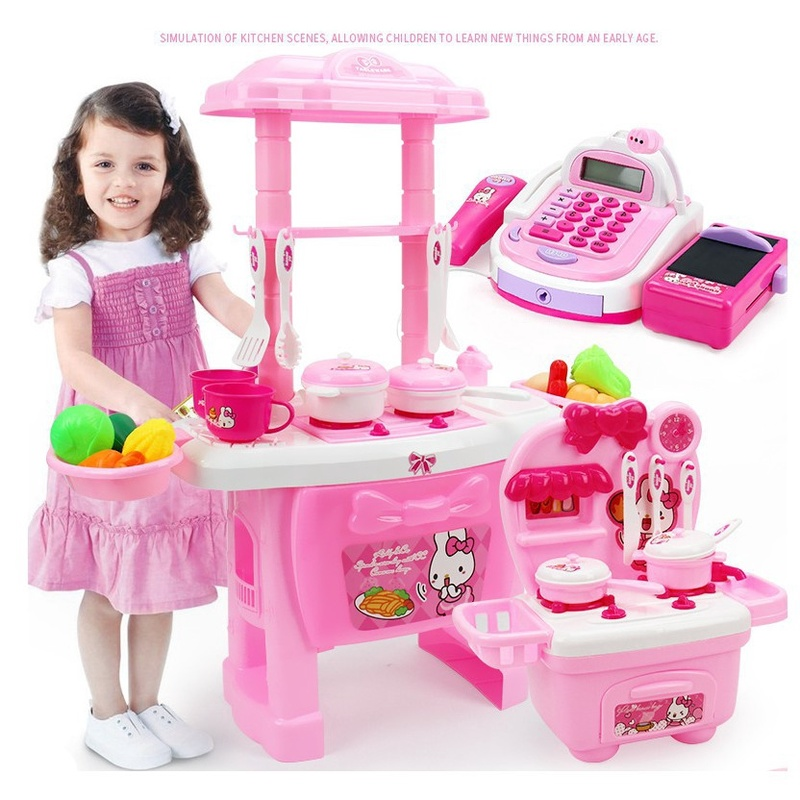 Zhenwei Kitty Kitchen Set For Kids  PlaySet Pretend Role Play Toys Cookware Miniature Food Kitchen Set For Kids Educational Toys