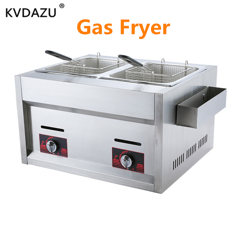 Double Cylinder Gas Fryer Two Tanks Frying Machine Energy Saving Fryer French Fries Boiled noodles Meatball cooker Snack carDouble Cylinder Gas Fryer Two Tanks Frying Machine Energy Saving Fryer French Fries Boiled noodles Meatball cooker Snack car