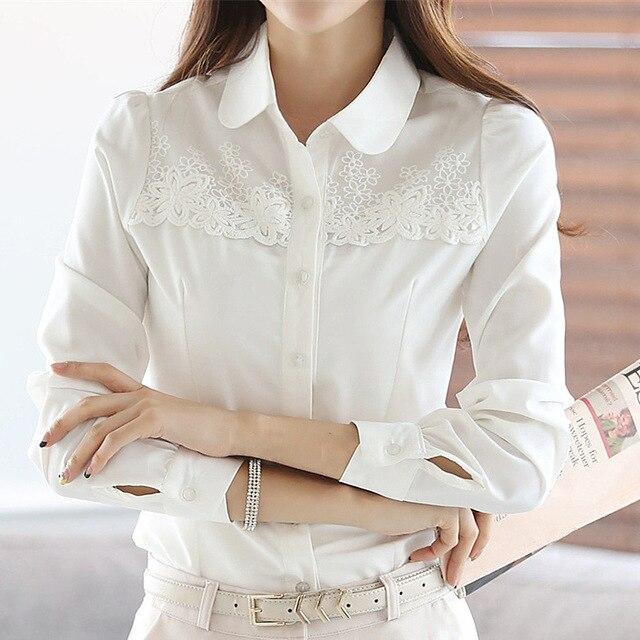 La nuova primavera delle donne di estate di cucitura del merletto chiffon  manica lunga camicie bianche e616570a403