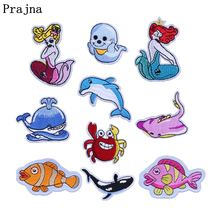 Prajna Ikan Lucu Bintang Putri Duyung Patch Shell Jahit Bordir Patch Anime Kartun Besi Pada Patch Stripes Baju Chile India(China)