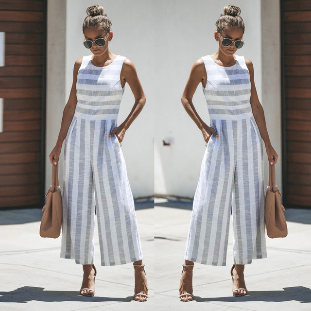 37a8cb6ed6f Jumpsuit Summer Women Sleeveless Striped Jumpsuit Casual Clubwear Wide Leg  Elegant Pants Outfit Jumpsuit combinai F J06