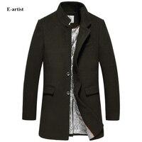 E Artist Men S Casual Stand Collar Long Wool Pea Coats Jackets Male Winter Outwear Overcoats
