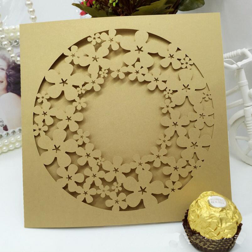 50pcs/pack Round Hollow Out Flower Invitations Cards Engagement for ...