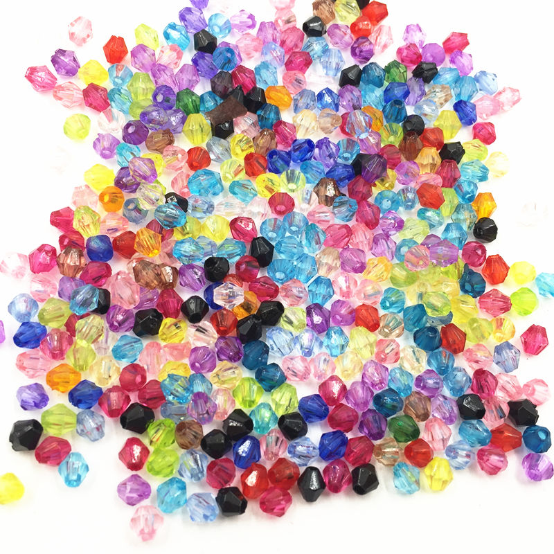 1000Pcs Mixed Colourful Spacer Beads Tiny Rhombus Acrylic Craft Fashion Jewelry DIY Findings 4mm in Beads from Jewelry Accessories