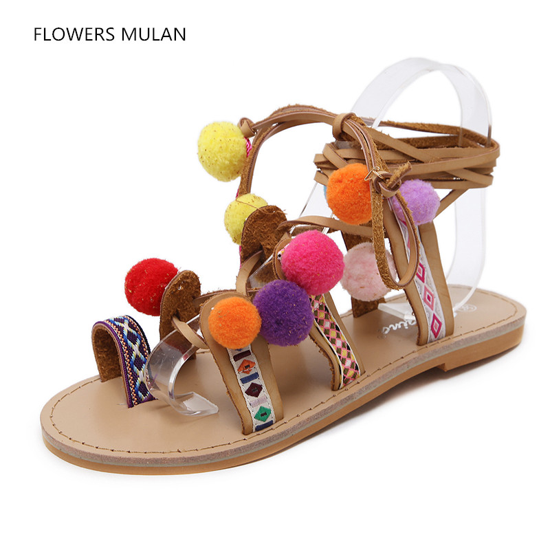 Rome Colorful Wool Ball Embroidery Upper Cross Tied Women Flat Sandals Rubber Heel Ankle Strap Lady Casual Shoes Girl Footwear elegant wedges open toe women sandals ankle buckle rivet shoe women cross tied women casual shoes rome hollowed out lady sandals