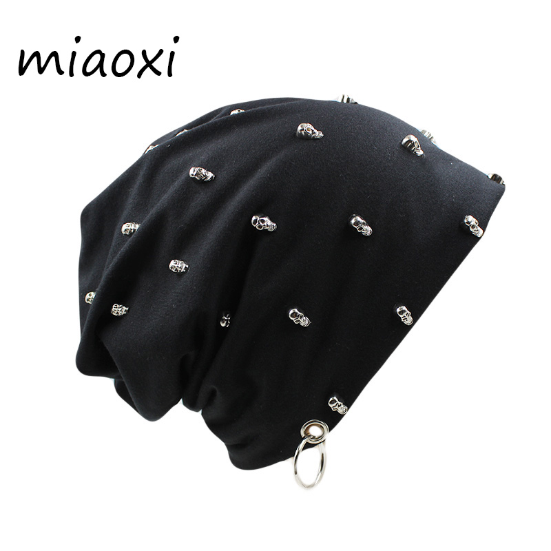 Miaoxi Men Women Unisex Casual Hat With Skull Hoop Caps Winter Warm Beanies Thick