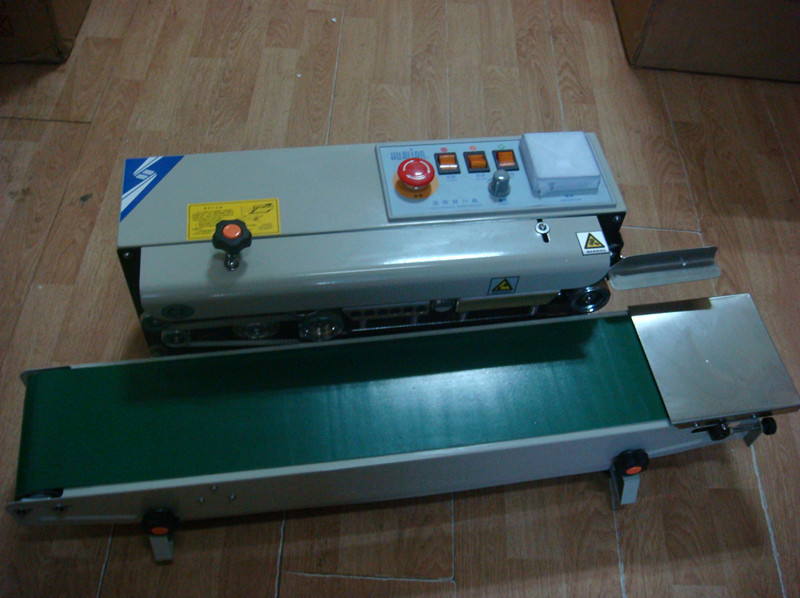 FRB-770I Electrical plastic aluminum foil bags sealing automatic impulse  experiation date stamp automatic plastic bag sealers frb 770i continuous sealer with steel wheel printing aluminium foil bag sealing machine