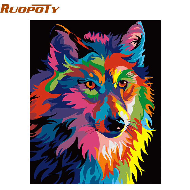 RUOPOTY diy frame Colorful Wolf DIY Painting By Numbers Calligraphy Painting Kit Animals Modern Wall Art Picture For Home Decor