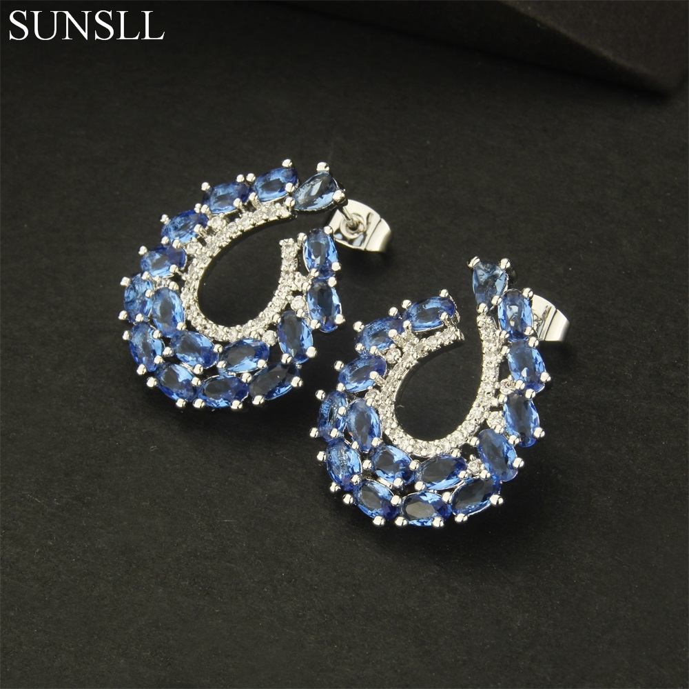 SUNSLL Stud-Earrings Party-Jewelry Silver-Color Cubic-Zirconia Women's Fashion CZ Copper