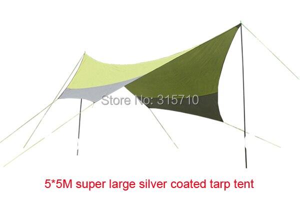 5*5 m super grande taille nouvelle tente de bâche enduite d'argent de conception/gazebo/tente d'ombre de soleil