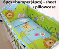 2016 6 PCS leão acessório jogo de cama do bebê cama berço do bebê recém-nascido conjuntos ( amortecedores + ficha + travesseiro cobrir )