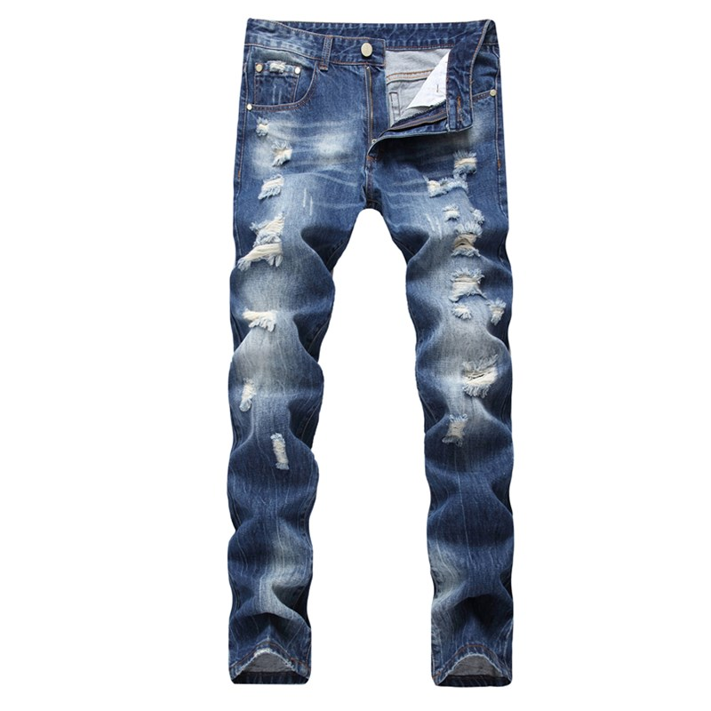 Plus size 29-42 size ripped jeans mens brand clothing fashion cotton denim pants top quality casual slim fit biker jeans for men airgracias elasticity jeans men high quality brand denim cotton biker jean regular fit pants trousers size 28 42 black blue