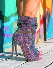 Women Big Size Shiny Sequinned Bling Peep Toe Personality High Heels Pumps Fashion  party shoes Middle Boots