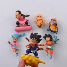 6 pcs/lot Dragon ball anime action figure fridge magnets figurine SON Goku ChiChi Oolong toys wukong Garage Kits