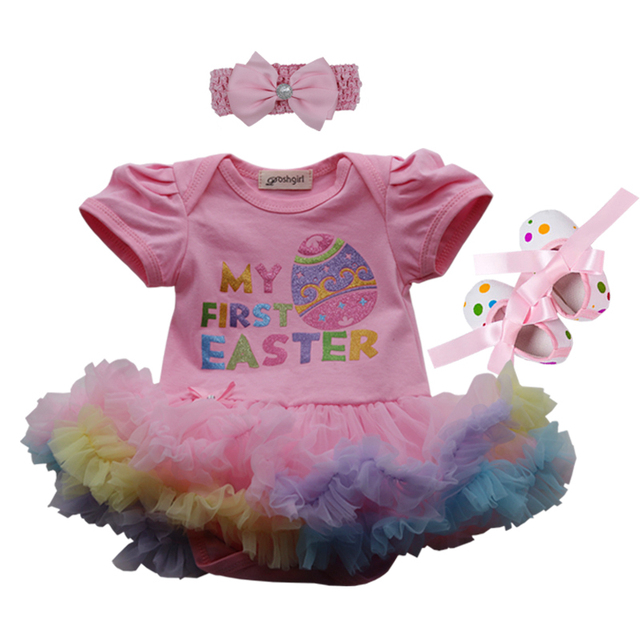 f22563f113c0 Happy Easter Day Gift Baby Girl Romper Dress Newborn Baby Outfit Toddler  Lace Tutu Headband Set Vestido Bebe Menina Infant Cloth