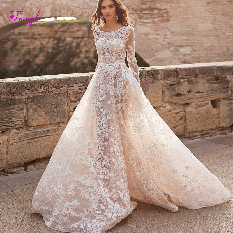 Fmogl Designer Scoop Neck Long Sleeves Lace A Line Wedding Dresses 2019 Appliques Beaded Bohemian Bridal