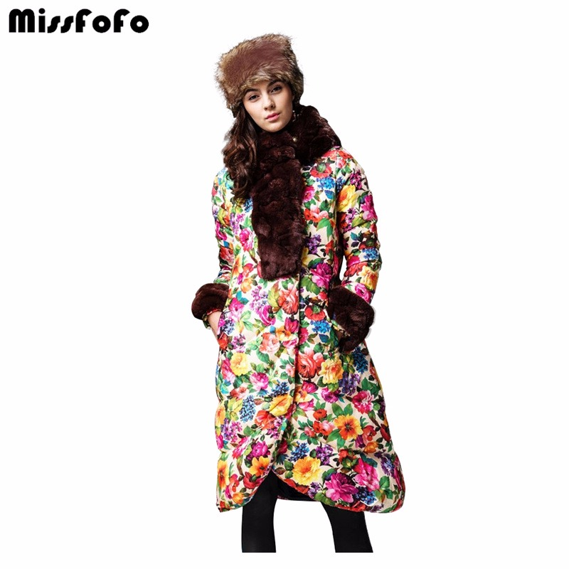 MissFoFo Women's Down Coats And CLJ Jackets Real Rabbit Fur Hood Fashion Cloak Casual Parka Female Long Thickening Jacket Flower