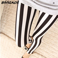 New 2016 Casual Fashion Womens Black White Vertical Stripes workout Leggings Fitness Female Milk Elastic Pencil Pants For Women