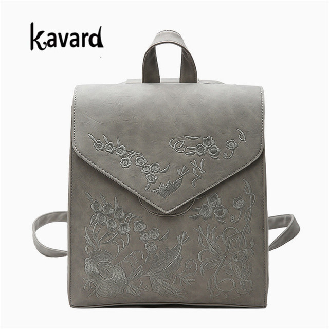 Designer High Quality Vintage Women Backpack Embroidery Flowers School Bags  for Grils Black Scrub Pu Leather 75026601cf