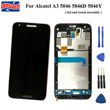 Original Für Alcatel A3 5046 OT5046 5046D 5046X 5046Y LCD Display + Touch Screen + rahmen Digitizer Ersatz 5,0 in + werkzeuge(China)